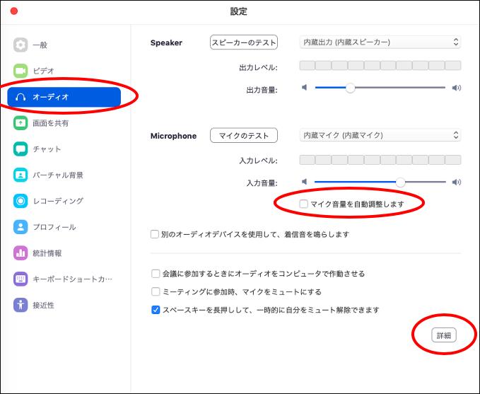 設定画面 → オーディオ